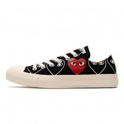 Converse Comme des Garçons Heart Print Black Ox-168307C-Limited Resell