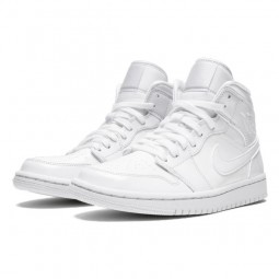 Air Jordan 1 Mid Triple White Patent Swoosh-BQ6472-100-Limited Resell