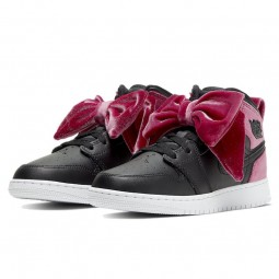 Air Jordan 1 Mid Bow Black Noble Red--CK5678-006-Limited Resell