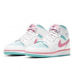 Air Jordan 1 Mid White Pink Green Soar--555112-102-Limited Resell