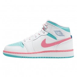 Air Jordan 1 Mid White Pink Green Soar-555112-102-Limited Resell