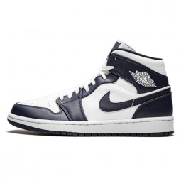 Air Jordan 1 Mid White Metallic Gold Obsidian--554724-174-Limited Resell