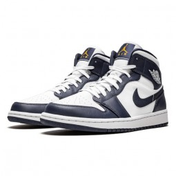 Air Jordan 1 Mid White Metallic Gold Obsidian-554724-174-Limited Resell