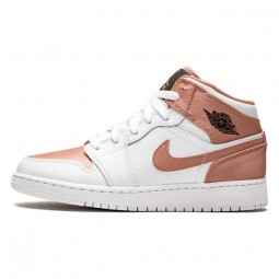 Air Jordan 1 Mid White Rose Gold-555112-190-Limited Resell