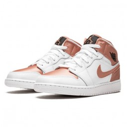 Air Jordan 1 Mid White Rose Gold--555112-190-Limited Resell