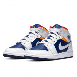 Air Jordan 1 Mid White Laser Orange Deep Royal Blue--554725-131-Limited Resell