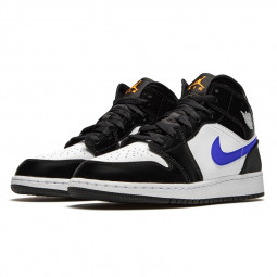 Air Jordan 1 Mid Black Racer Blue White--554725-084-Limited Resell