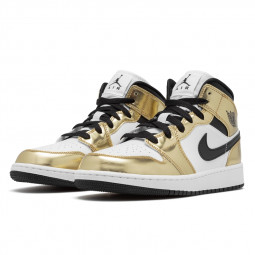 Air Jordan 1 Mid Metallic Gold Black White--DC1420-700-Limited Resell