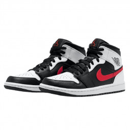 Air Jordan 1 Mid Black Chile Red White--554724-075-Limited Resell