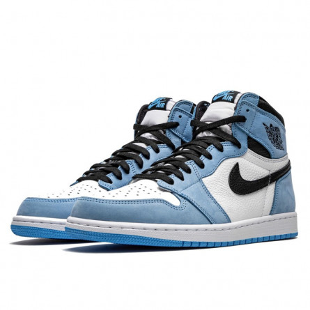 Air Jordan 1 Retro High White University Blue Black--555088-134-Limited Resell